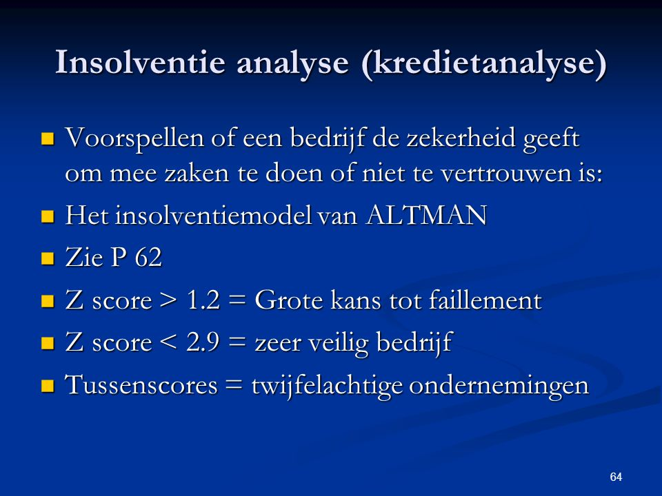 Insolventie analyse (kredietanalyse)