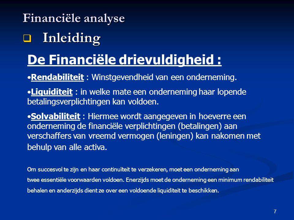 Inleiding Financiële analyse De Financiële drievuldigheid :