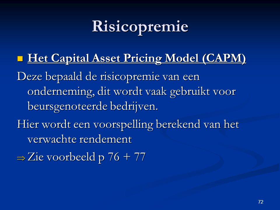 Risicopremie Het Capital Asset Pricing Model (CAPM)