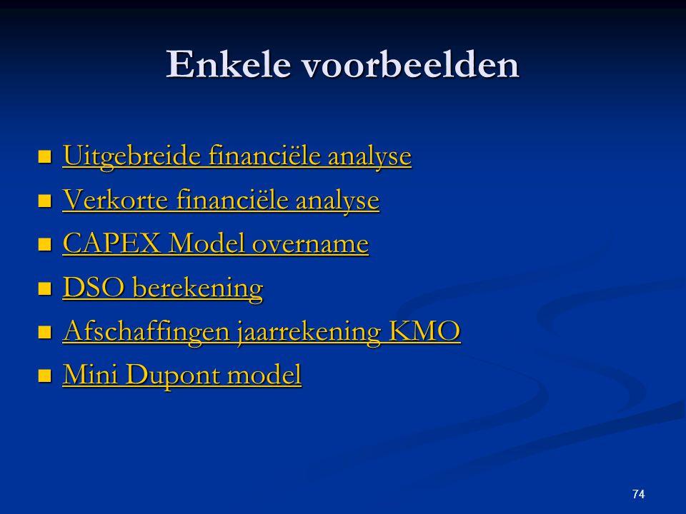 Enkele voorbeelden Uitgebreide financiële analyse