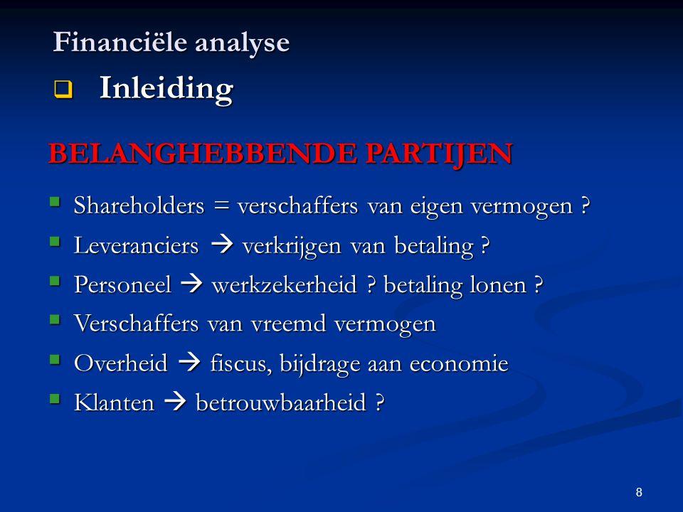 Inleiding Financiële analyse BELANGHEBBENDE PARTIJEN
