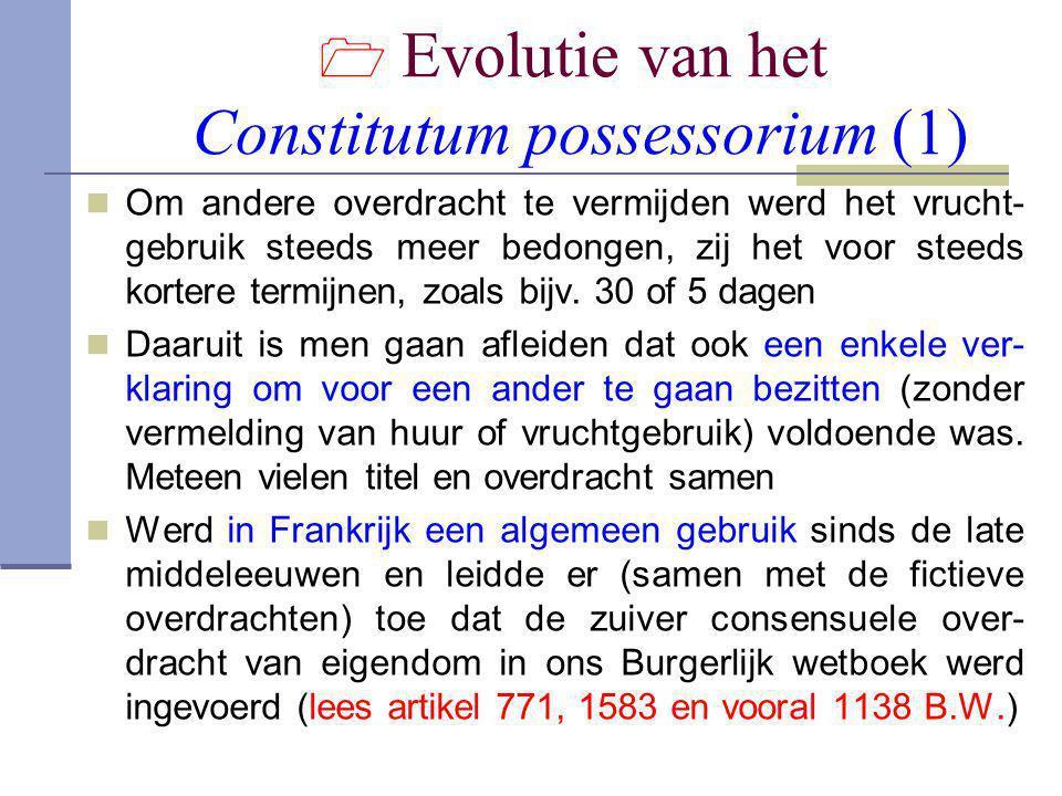  Evolutie van het Constitutum possessorium (1)