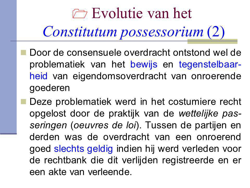  Evolutie van het Constitutum possessorium (2)