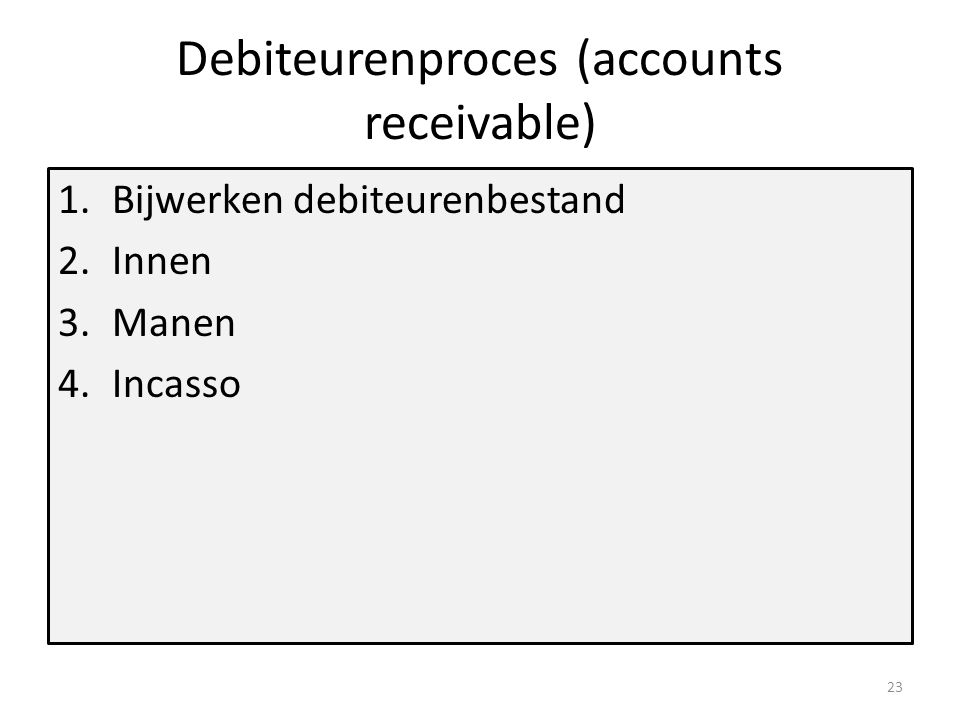 Debiteurenproces (accounts receivable)
