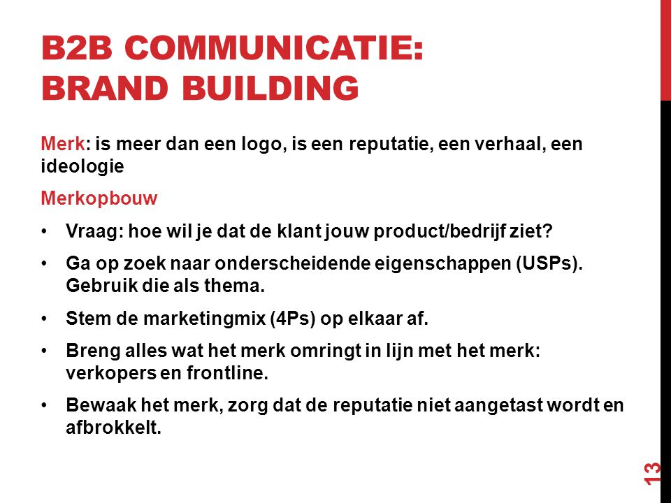 B2B communicatie: brand building