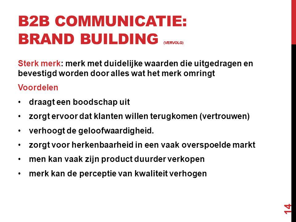 B2B communicatie: brand building (vervolg)