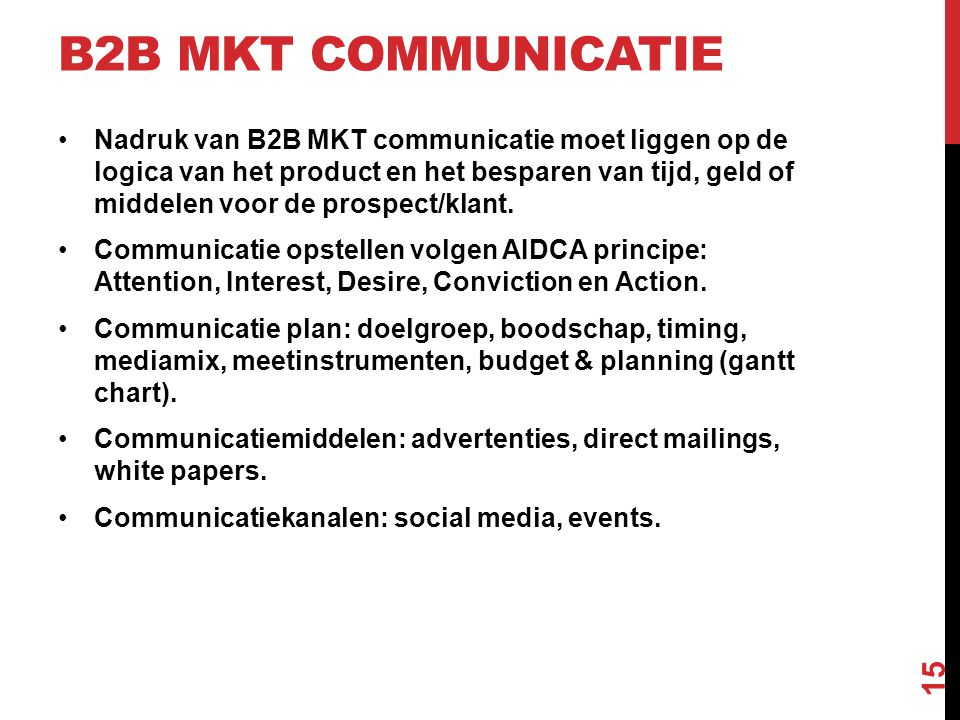 B2B MKT communicatie
