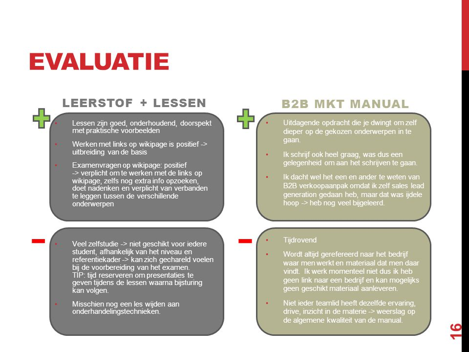 Evaluatie Leerstof + lessen B2B MKT Manual