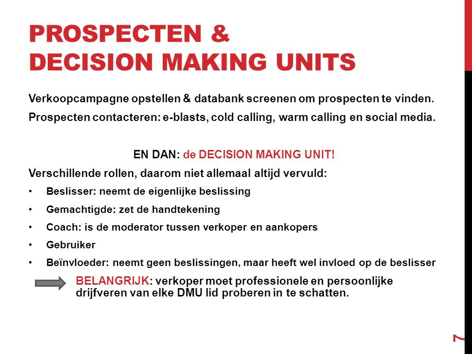 Prospecten & Decision making units