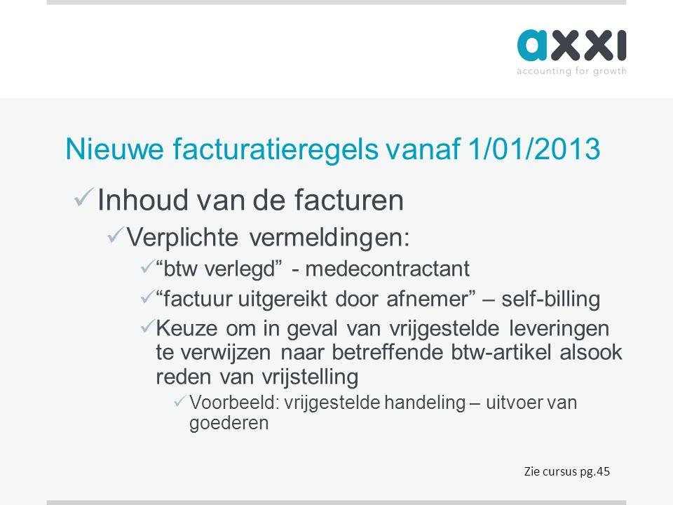 Nieuwe facturatieregels vanaf 1/01/2013