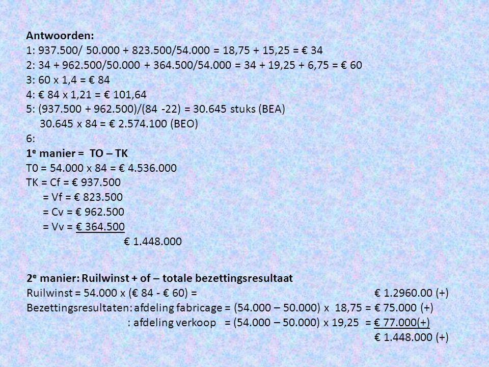 Antwoorden: 1: 937.500/ 50.000 + 823.500/54.000 = 18,75 + 15,25 = € 34. 2: 34 + 962.500/50.000 + 364.500/54.000 = 34 + 19,25 + 6,75 = € 60.