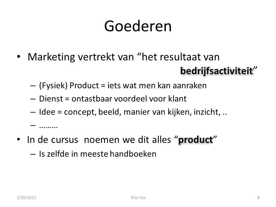 Goederen Marketing vertrekt van het resultaat van bedrijfsactiviteit