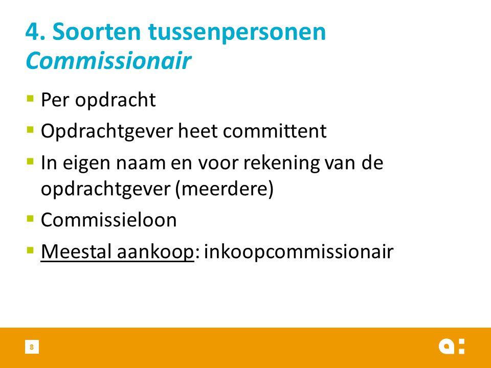 4. Soorten tussenpersonen Commissionair