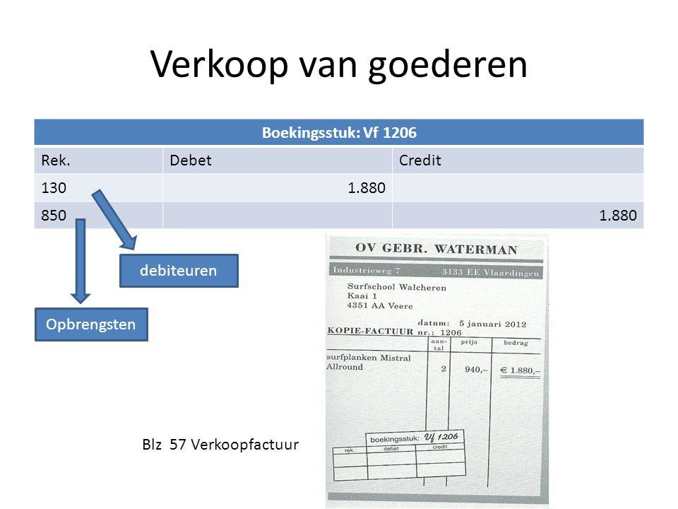 Verkoop van goederen Boekingsstuk: Vf 1206 Rek. Debet Credit 130 1.880