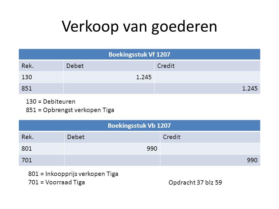 Verkoop van goederen Boekingsstuk Vf 1207 Rek. Debet Credit 130 1.245