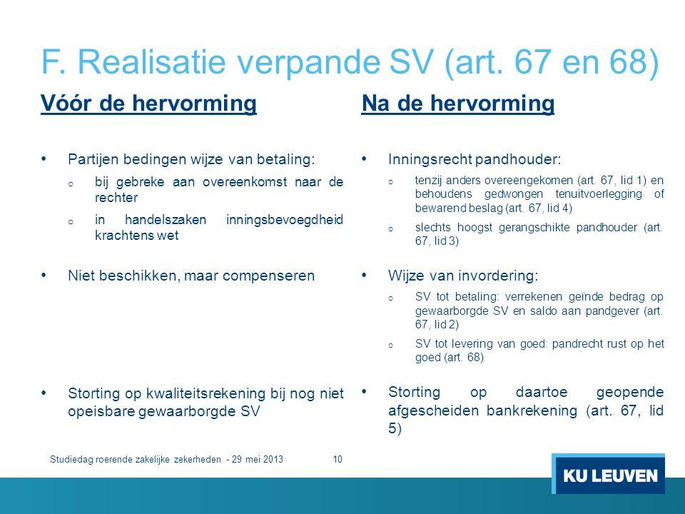 F. Realisatie verpande SV (art. 67 en 68)
