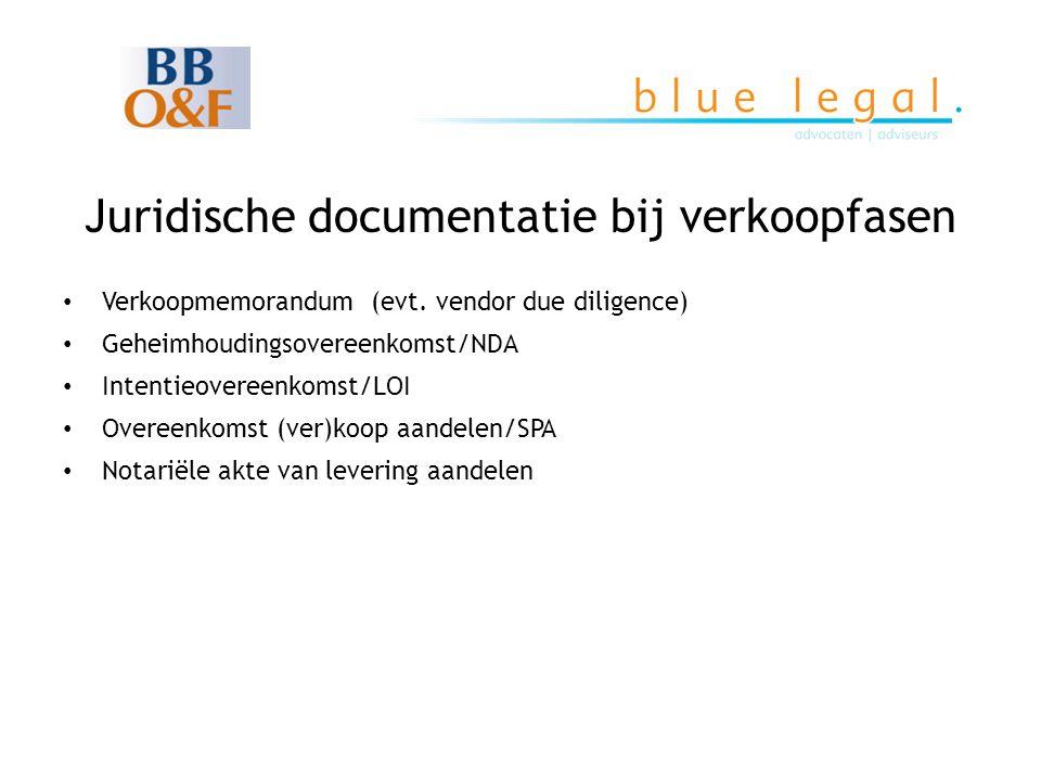 Juridische documentatie bij verkoopfasen