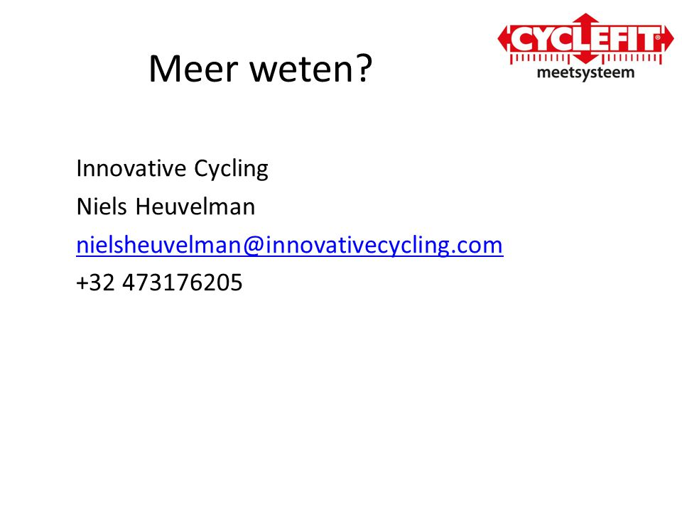 Meer weten Innovative Cycling Niels Heuvelman nielsheuvelman@innovativecycling.com +32 473176205