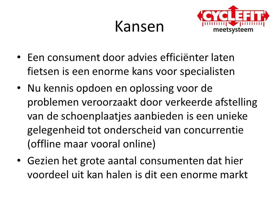 Kansen Een consument door advies efficiënter laten fietsen is een enorme kans voor specialisten.