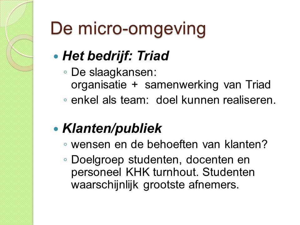 De micro-omgeving Het bedrijf: Triad Klanten/publiek
