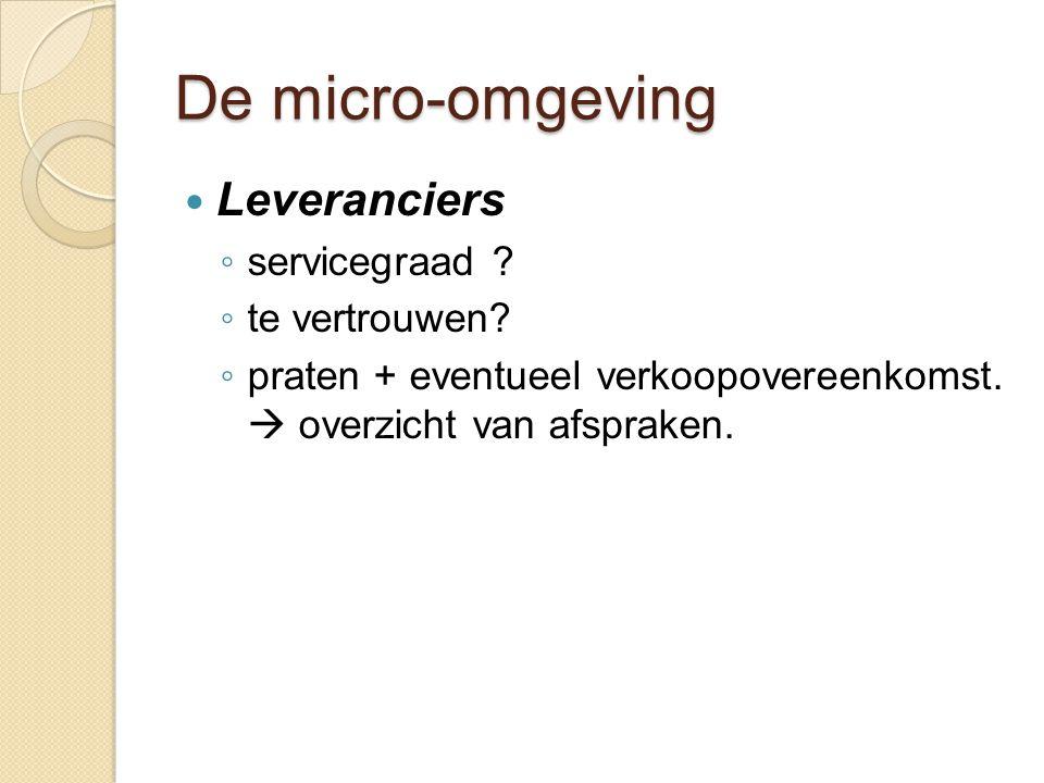 De micro-omgeving Leveranciers servicegraad te vertrouwen