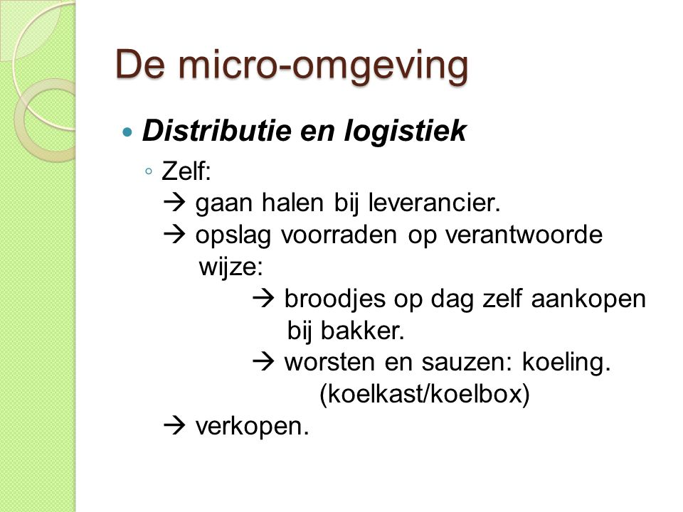 De micro-omgeving Distributie en logistiek