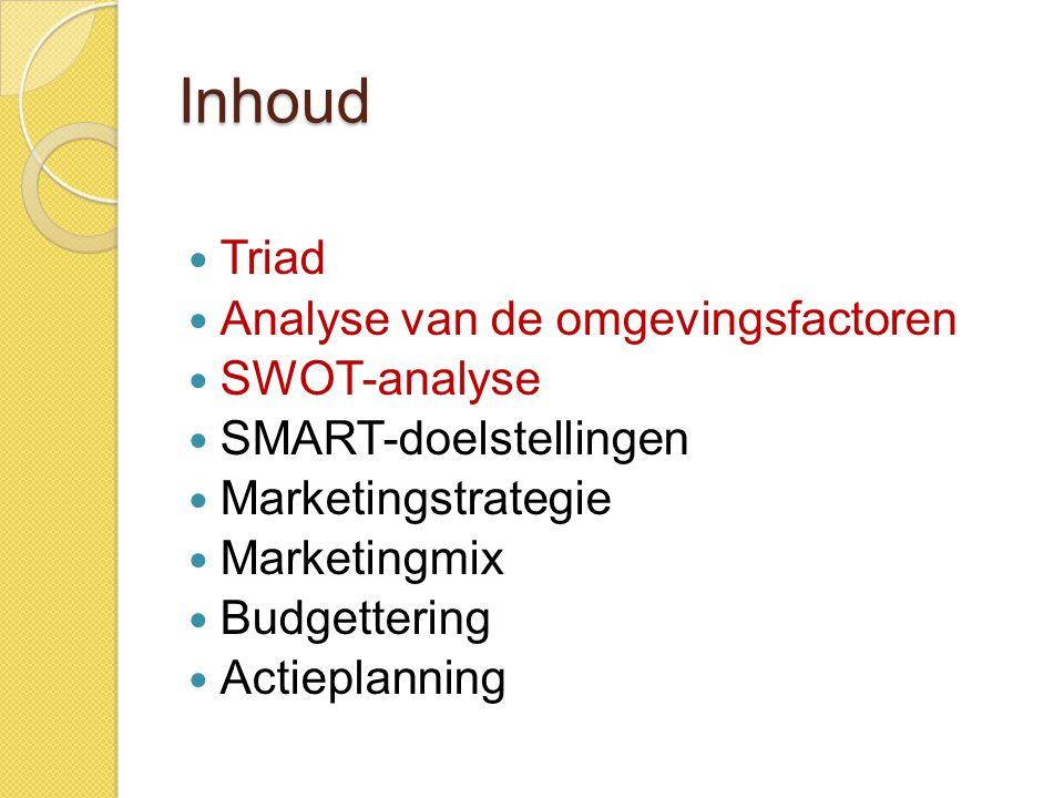 Inhoud Triad Analyse van de omgevingsfactoren SWOT-analyse