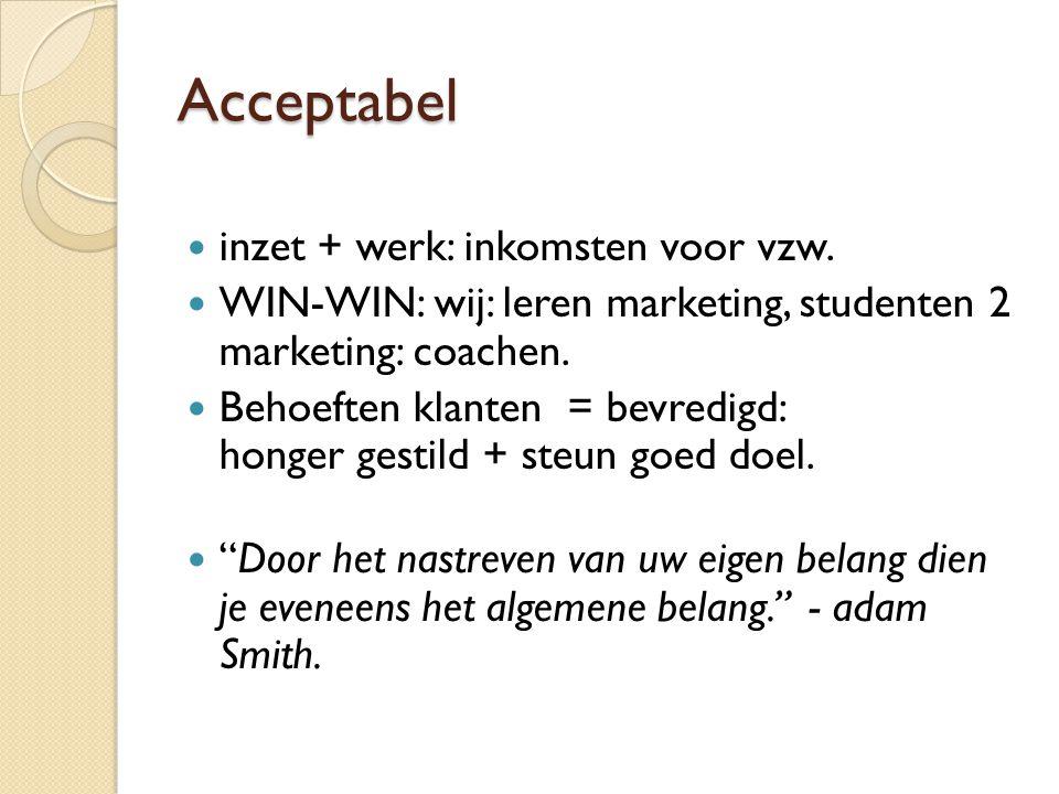 Acceptabel inzet + werk: inkomsten voor vzw.