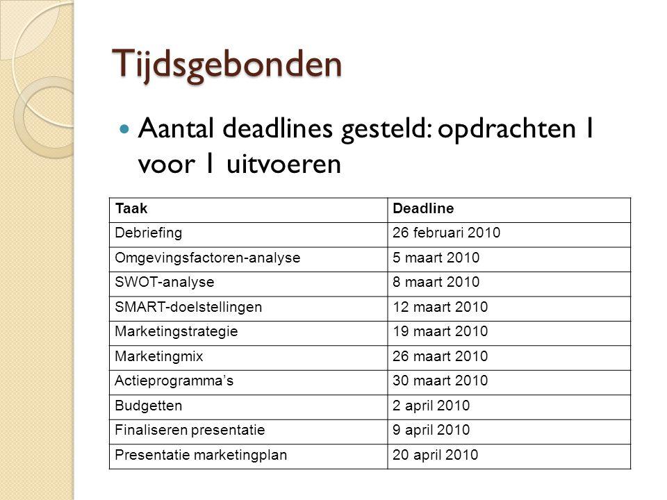 Tijdsgebonden Aantal deadlines gesteld: opdrachten 1 voor 1 uitvoeren