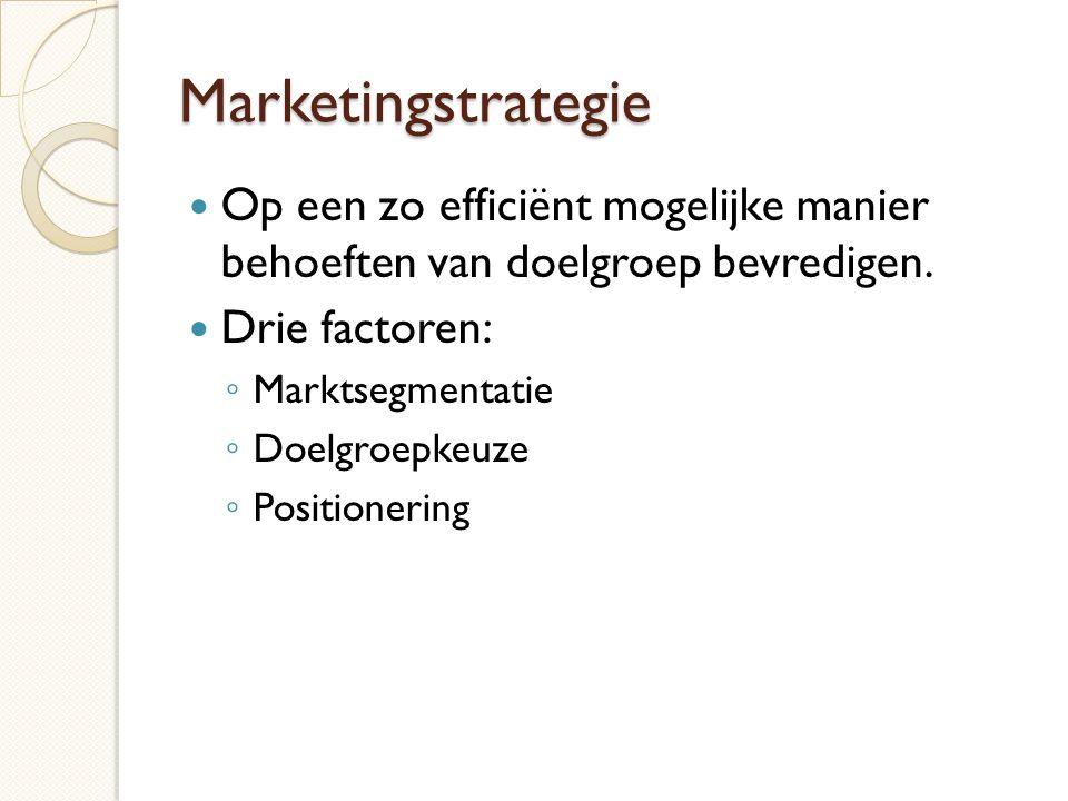 Marketingstrategie Op een zo efficiënt mogelijke manier behoeften van doelgroep bevredigen. Drie factoren: