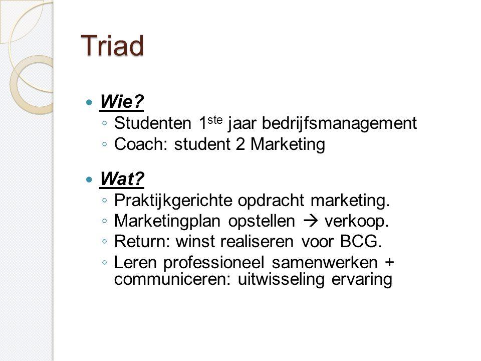 Triad Wie Wat Studenten 1ste jaar bedrijfsmanagement
