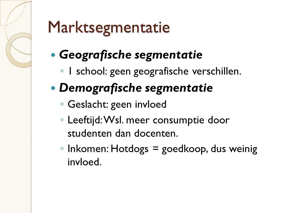 Marktsegmentatie Geografische segmentatie Demografische segmentatie