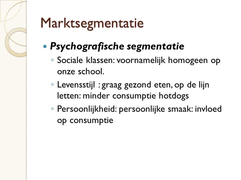 Marktsegmentatie Psychografische segmentatie