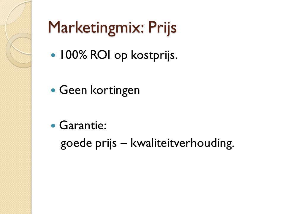 Marketingmix: Prijs 100% ROI op kostprijs. Geen kortingen Garantie: