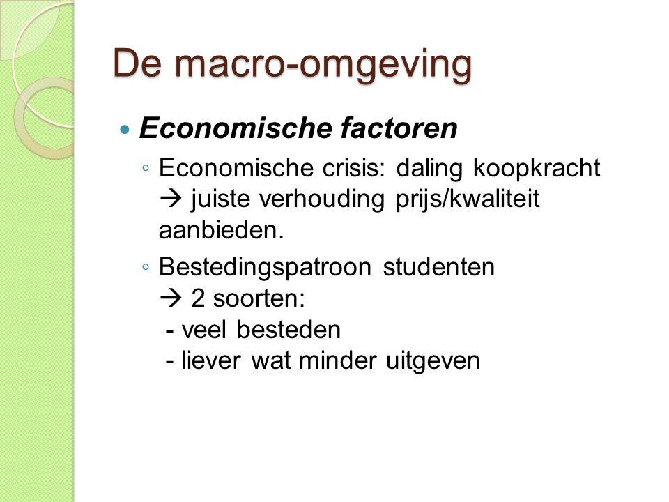 De macro-omgeving Economische factoren