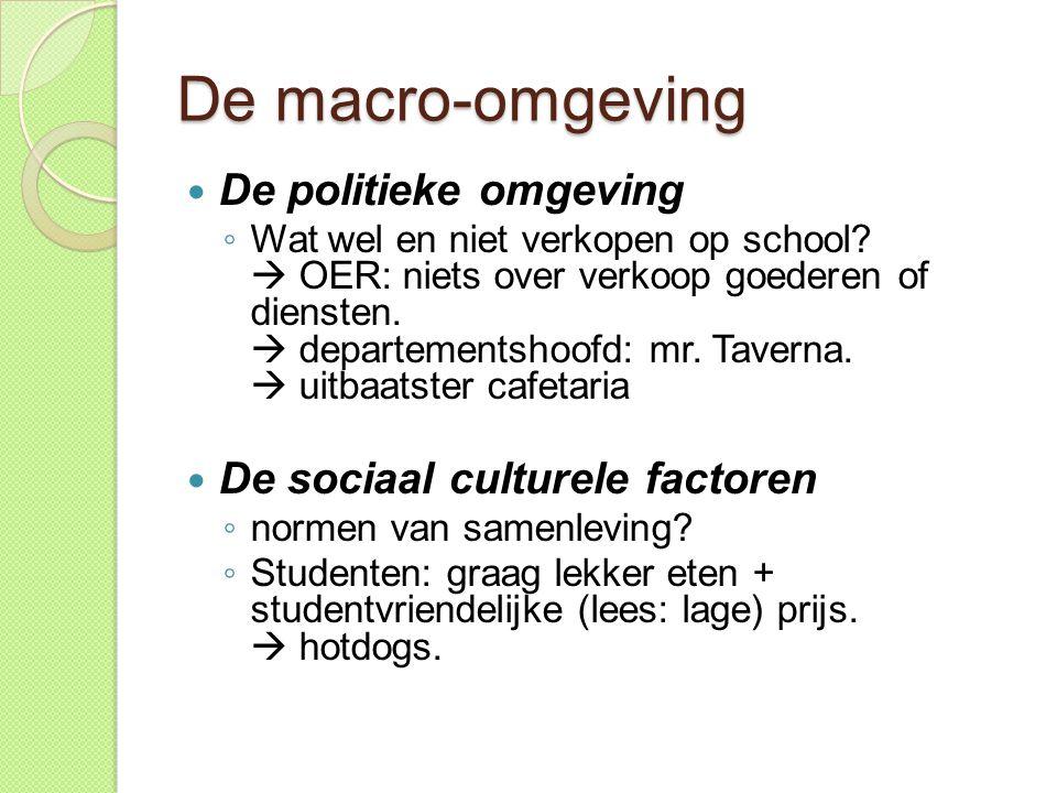 De macro-omgeving De politieke omgeving De sociaal culturele factoren