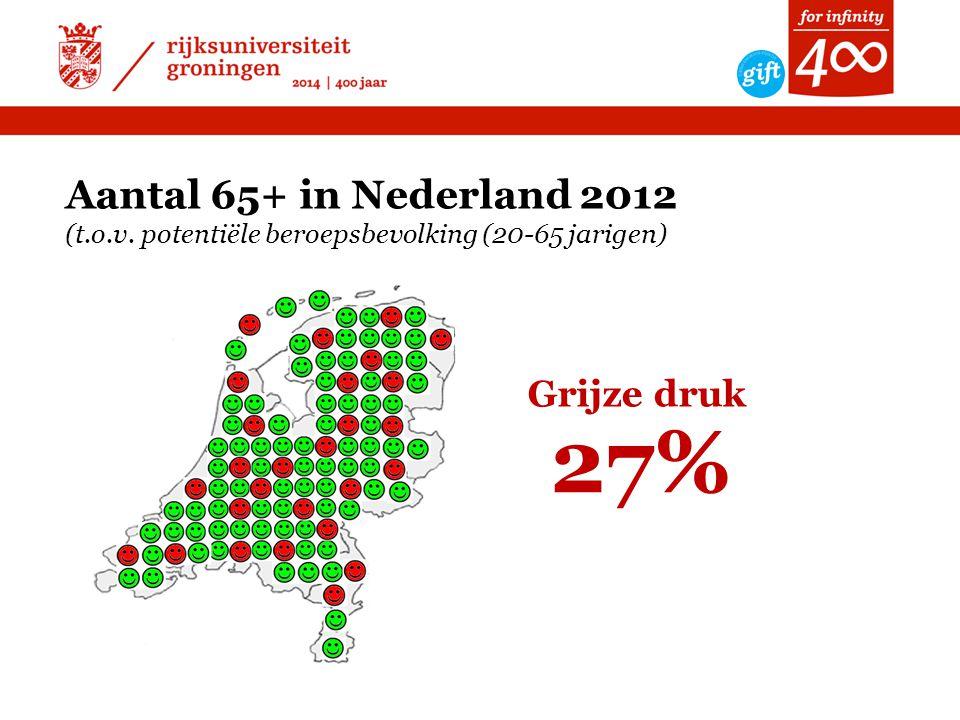 Aantal 65+ in Nederland 2012 (t. o. v