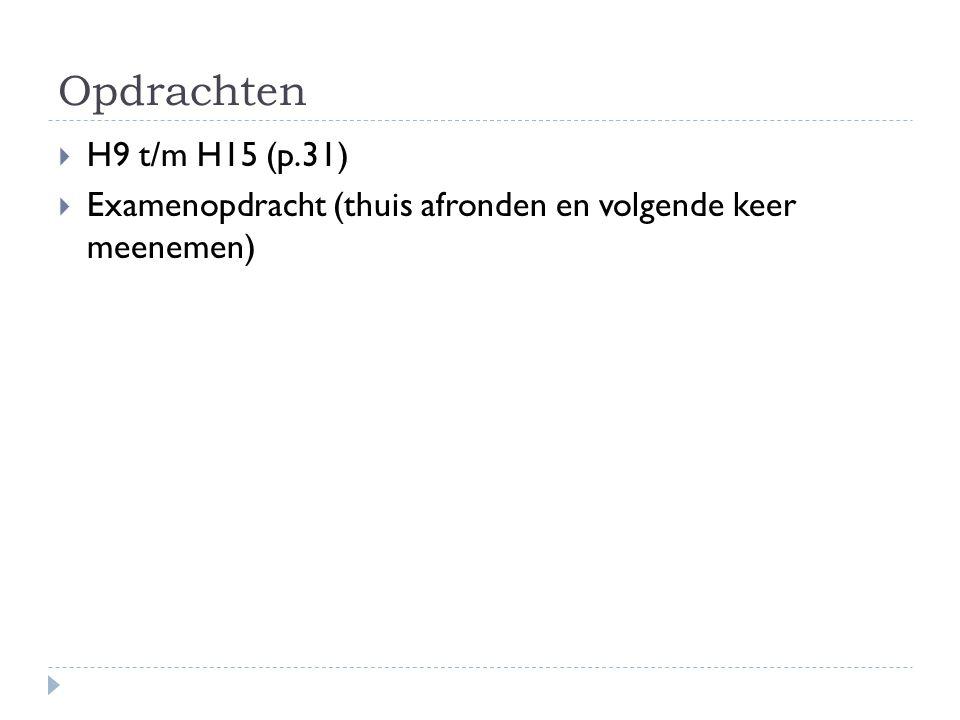 Opdrachten H9 t/m H15 (p.31) Examenopdracht (thuis afronden en volgende keer meenemen)