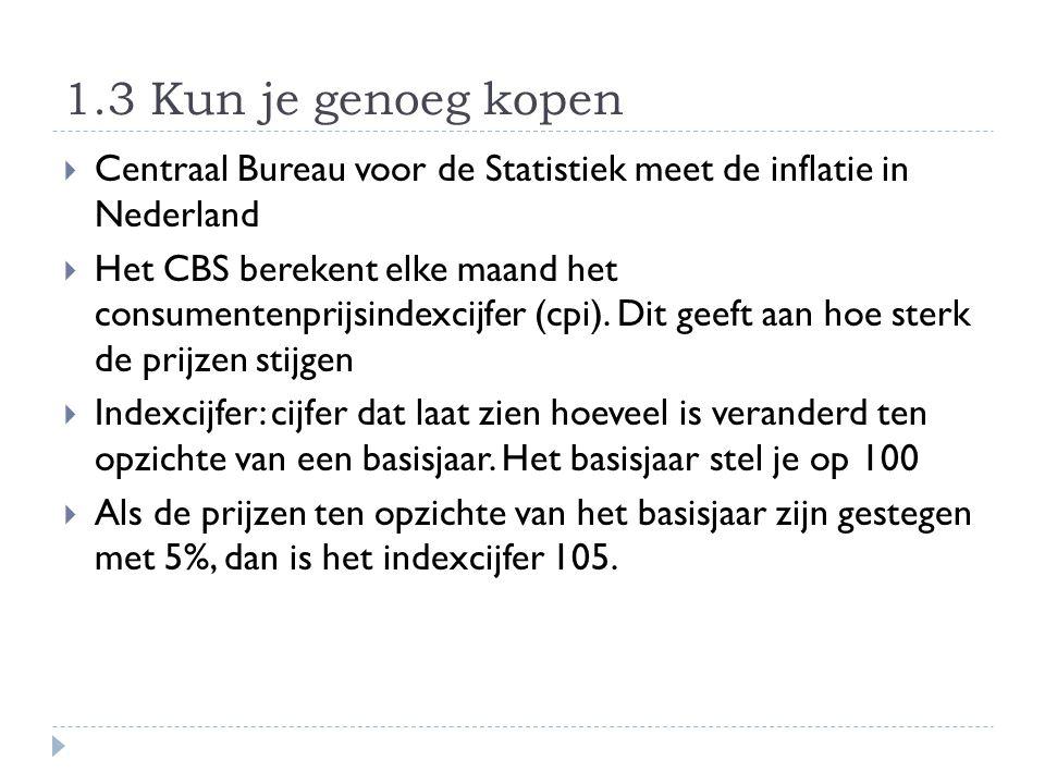 1.3 Kun je genoeg kopen Centraal Bureau voor de Statistiek meet de inflatie in Nederland.