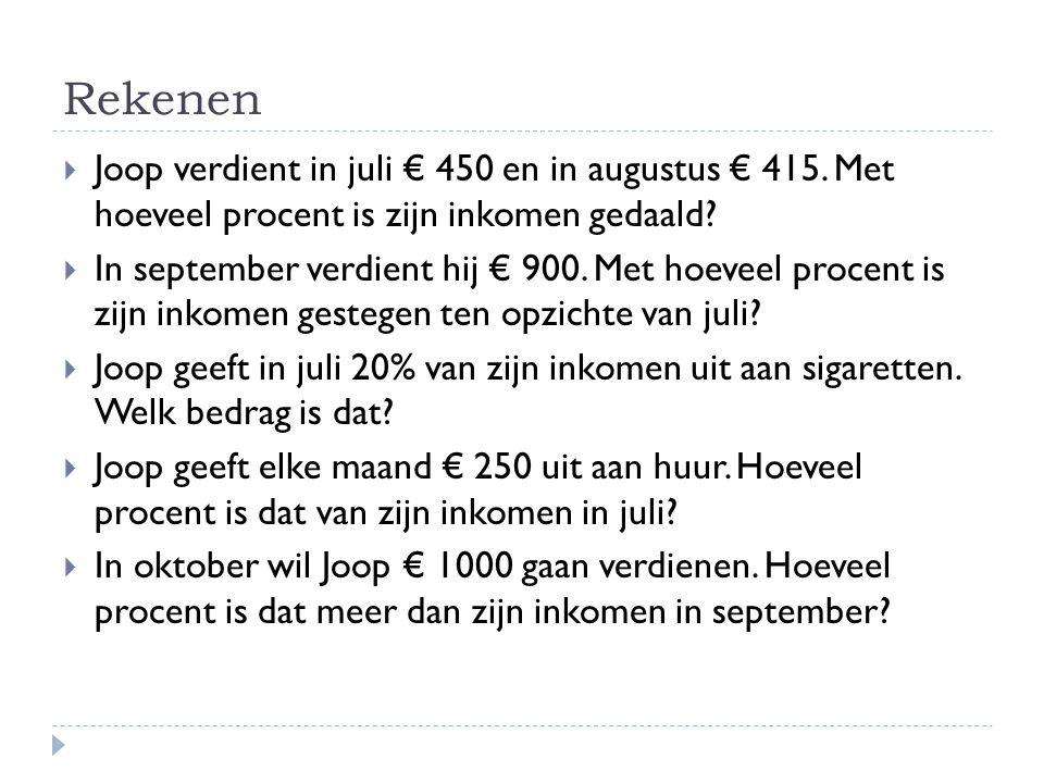 Rekenen Joop verdient in juli € 450 en in augustus € 415. Met hoeveel procent is zijn inkomen gedaald