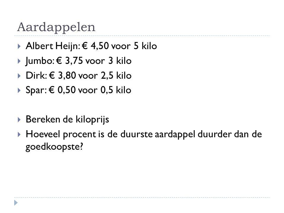 Aardappelen Albert Heijn: € 4,50 voor 5 kilo Jumbo: € 3,75 voor 3 kilo