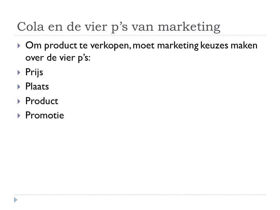 Cola en de vier p's van marketing