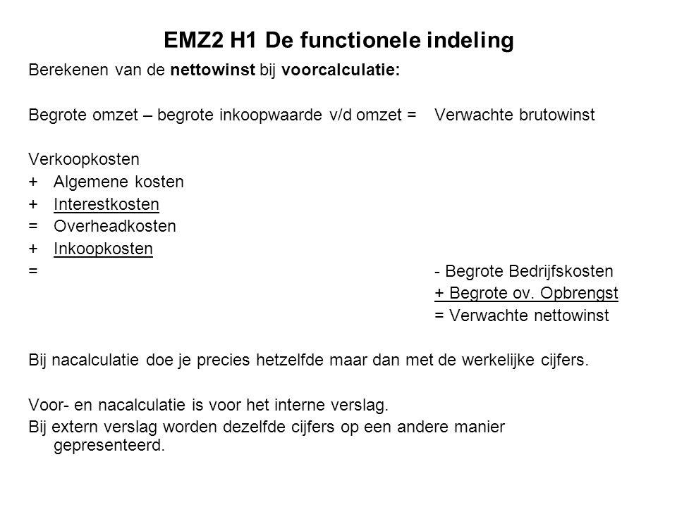 EMZ2 H1 De functionele indeling