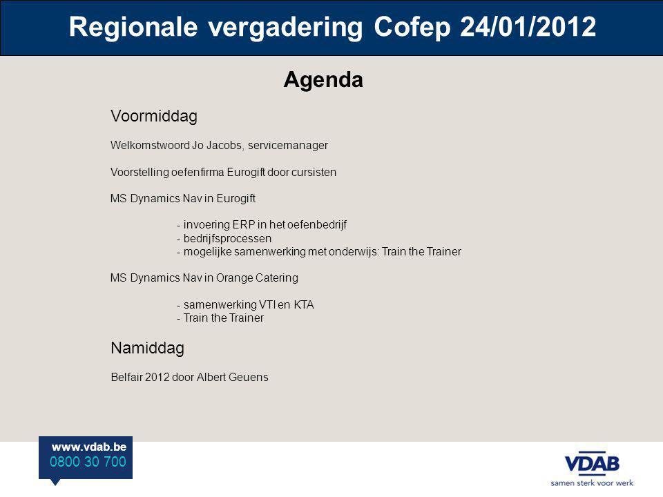 Regionale vergadering Cofep 24/01/2012