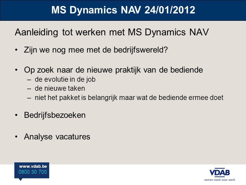 Aanleiding tot werken met MS Dynamics NAV