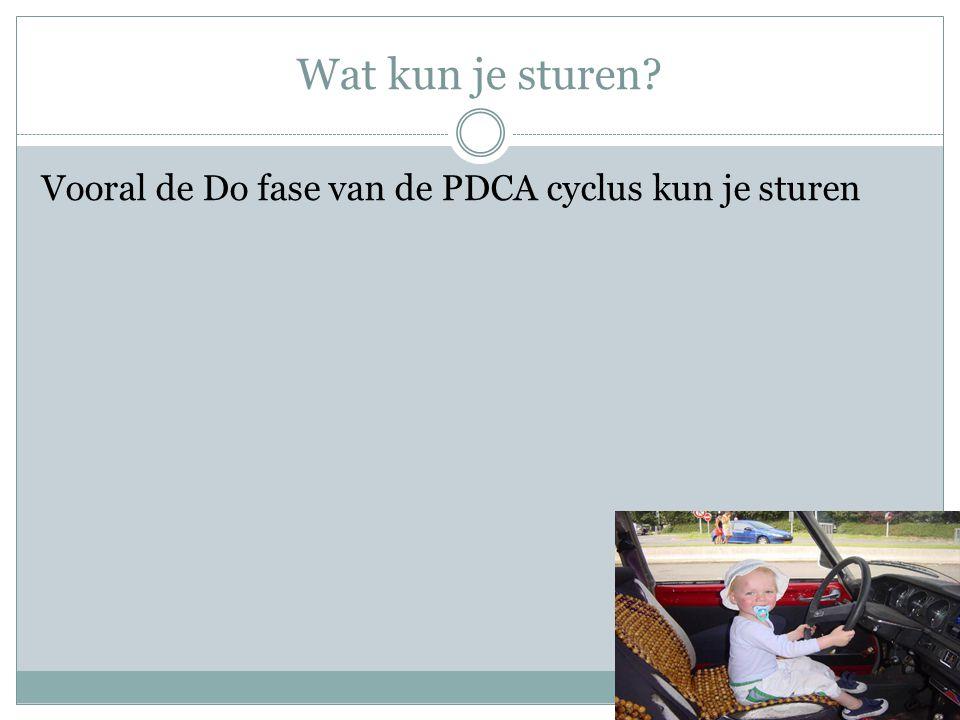 Wat kun je sturen Vooral de Do fase van de PDCA cyclus kun je sturen