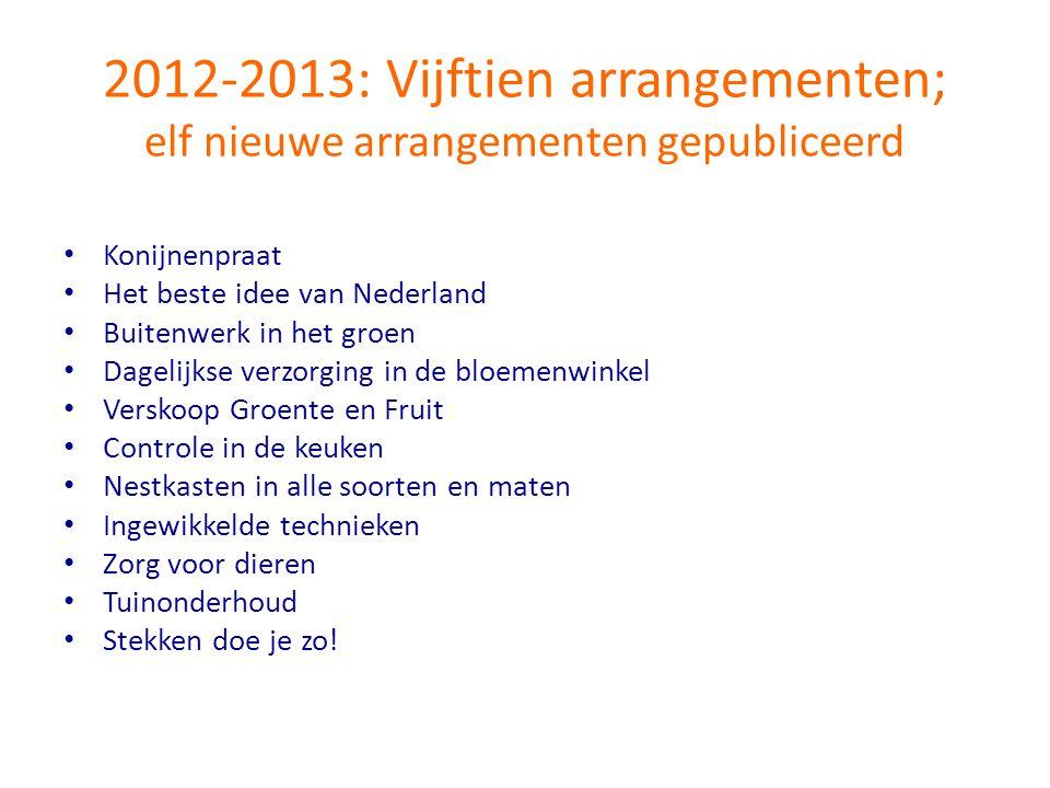 2012-2013: Vijftien arrangementen; elf nieuwe arrangementen gepubliceerd