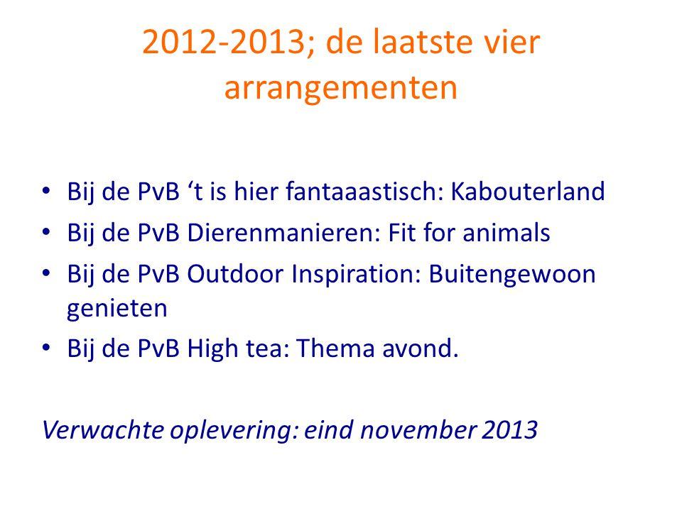 2012-2013; de laatste vier arrangementen