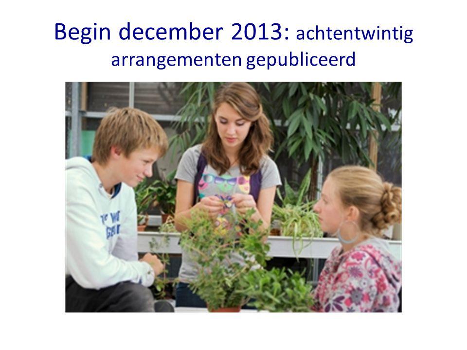 Begin december 2013: achtentwintig arrangementen gepubliceerd