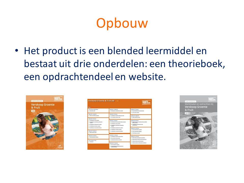 Opbouw Het product is een blended leermiddel en bestaat uit drie onderdelen: een theorieboek, een opdrachtendeel en website.